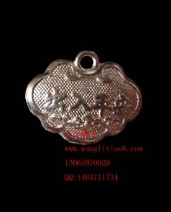 8000590--每包20个--银色长命百岁出入平安小元宝