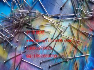 8000146--每包1000个--招财猫姓名链专用平底针26mm--镍色