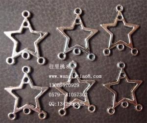 8000499--每捆100个--四孔镍色饰品配件--大五角星