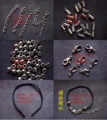 8000505--每包100个--带环手链半成品五件套--黑色