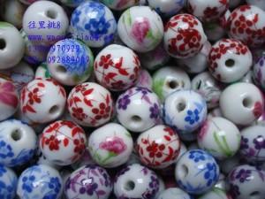 8000631--每包1000个--独饰源十二号圆形带花瓷珠--混装