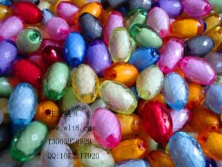 8000091--每包50个--12*18菱形切面椭圆形珠中珠--混色