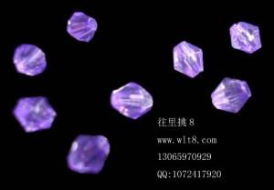8000919--每包1000个--4mm亚克力水晶尖珠--紫色