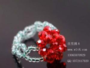 8000783--每包90个装--水晶手编戒指四叶草型