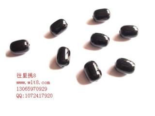 8000925--每包100个--10*14mm椭圆管状玻璃珠--黑色