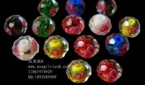 8000633--每包20个--A级10mm高档琉璃内切带花--混装
