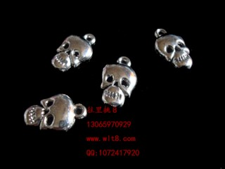 8205030--每包100个--独饰源藏银古银--骷髅头