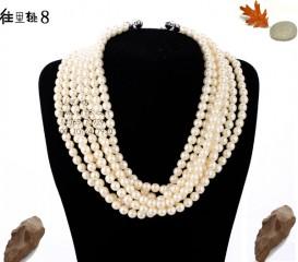 8000884--【每包10条】● 8mm成品玻璃仿珍珠珍珠项链--珍珠粉