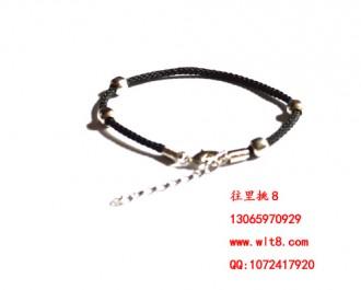 8000022--每包100个--四珠带环手链--黑色成品