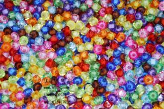 8000120--每包500个8mm仿水晶大孔尖形菱形塑料珠