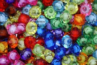 8000123--每包100个12mm仿水晶大孔尖形菱形塑料珠