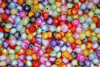 8000115--每包300个10mm仿水晶大孔扁亚克力塑料珠