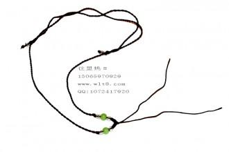 8000685--每包100个--可伸缩带玉珠细线项链--咖啡色