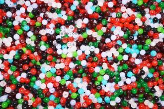 8000085--每包1000个--4mm独饰源仿玛瑙玻璃珠--混装