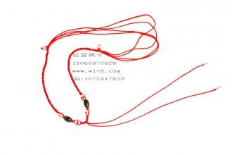 8000350--每包100个--可伸缩2玉珠配4小晶项链--红色