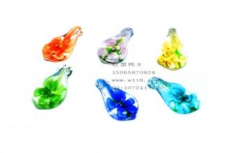 8205103--每包6个装--琉璃夜光吊坠--水滴