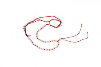 8001010--每包20个--可伸缩全圆玉珠粗线项链--红色