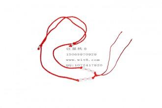 8001008--每包100个--可伸缩带玉8珠粗线项链--红色