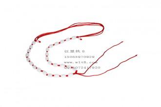 8001012--每包20个--可伸缩全椭圆玉珠粗线项链--红色