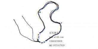 8000605--每包100个--可伸缩带玉8珠粗线项链--黑色