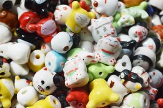 8001038--每包100个--陶瓷彩猫--混装