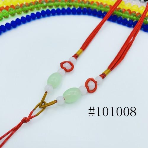 8001033--每包100条--多珠多水晶项链--红色
